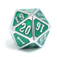Die Hard - MTG Roll Down Counter - Shiny Silver Emerald D20
