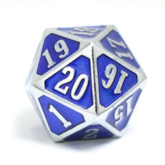 Die Hard - MTG Roll Down Counter - Shiny Silver Sapphire D20