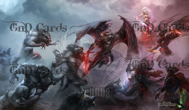 The Eternal Battle : Vampires Vs Werewolves Playmat