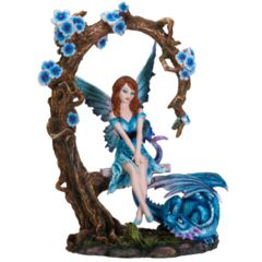 13755 Fairy with Blue Dragon On Swing