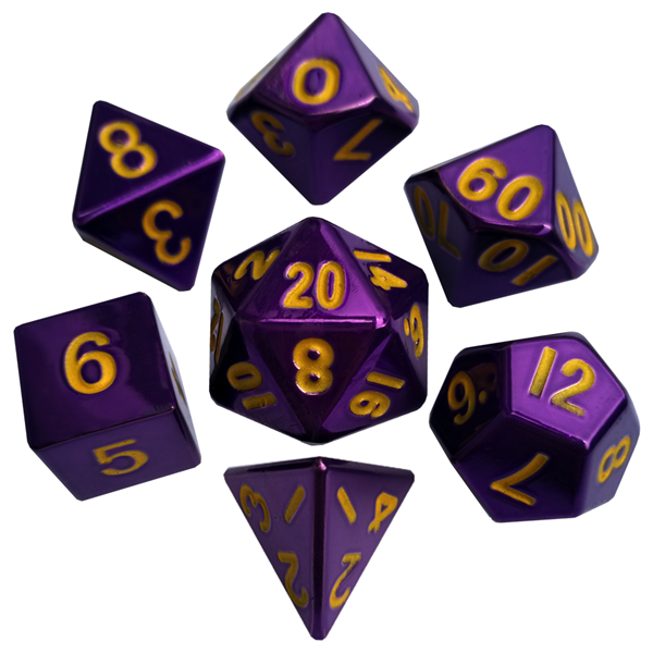 16mm Metal Polyhedral Dice Set - Purple with Gold Numbers