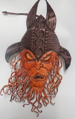 Leather Wall Hanging: Orc Warrior by Frederika Bagnato