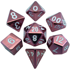 16mm Metal Polyhedral Dice Set - Pink