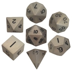 16mm Metal Polyhedral Dice Set - Antique Silver