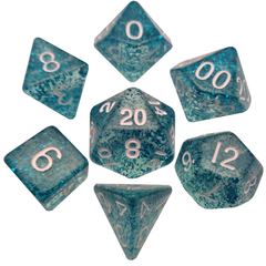 Mini Polyhedral Dice Set - Ethereal Light Blue