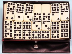 Dominoes Classic Double 9 Professional Set of 55 Black Case