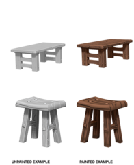 WZK 72593 - Wooden Table & Stools