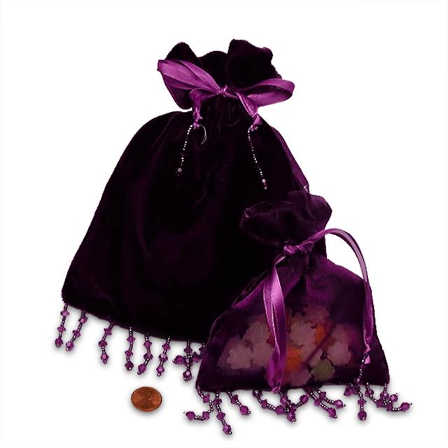 5x6 Purple Velvet/Sheer Beaded Bag