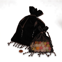 5x6 Black Velvet/Sheer Beaded Bag