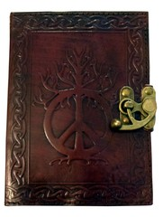 Peace Sign Leather Embossed Journal 2550