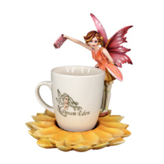 12936 - Green Tea Cup Fairy /w Flower