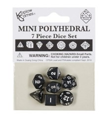 Koplow Mini Polyhedral Dice Set - Opaque Black/Blue