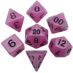 Mini Polyhedral Dice Set - Glow in the Dark Purple with Black Ink