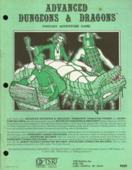 AD&D - Permanent Character Folder and Adventure Records 9029