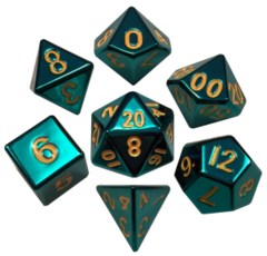 16mm Metal Polyhedral Dice Set - Turquoise with Gold Numbers