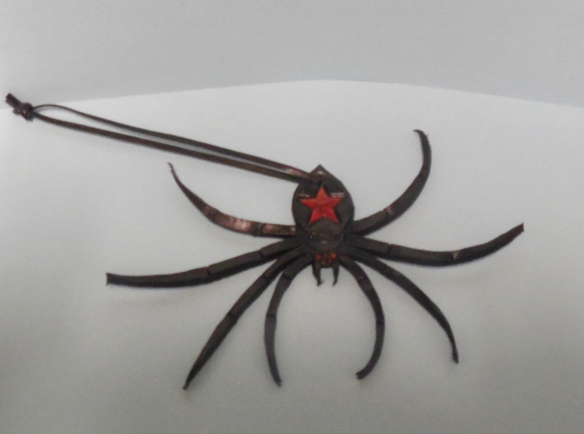 Leather Wall Hanging Black Widow Spider by Frederika Bagnato