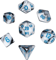 Mini Polyhedral Dice Set - Marble w/ Blue Ink