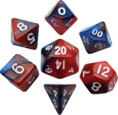 Mini Polyhedral Dice Set - Red/Blue w/ White Ink