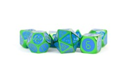 16mm Metal Dice Set - Digital Green w/ Blue Enamel