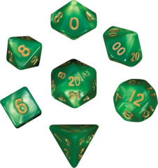 Mini Polyhedral Dice Set - Green/Gold Ink
