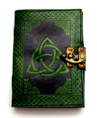 Black/Green Triquetra Leather Journal 2721