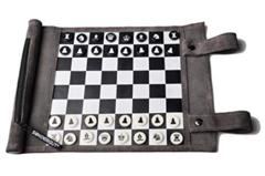 Leather Travel Chess & Checkers Set - Gray