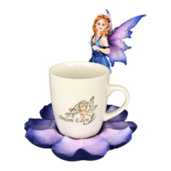 12938 - Purple Tea Cup Fairy /w Flower
