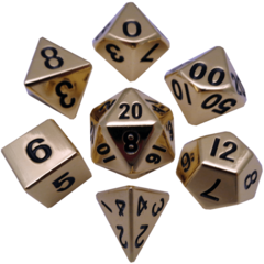 16mm Metal Polyhedral Dice Set - Gold