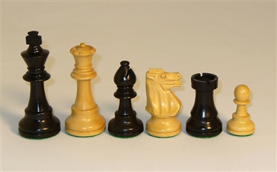 37BF - 3.75 French Black & Natural Boxwood Chess Pieces