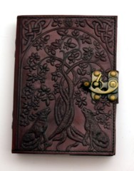 2803 - Leather Journal Wolves with Tree of Life