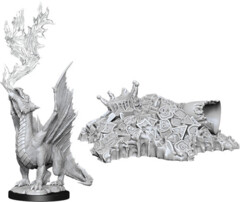 WZK 90028 - D&D Nolzur's Marvelous Unpainted Miniatures: Gold Dragon Wyrmling & Treasure