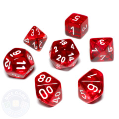 Koplow Mini Polyhedral Dice Set - Transparent Red/White