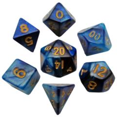Mini Polyhedral Dice Set - Dark Blue /w Gold Numbers