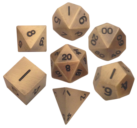 16mm Metal Polyhedral Dice Set Antique Gold