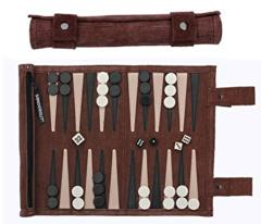 Leather Travel Backgammon Set - Brown
