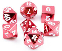 16mm Metal Polyhedral Dice Set - Red