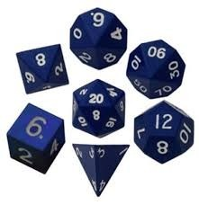 16mm Metal Polyhedral Dice Set - Blue