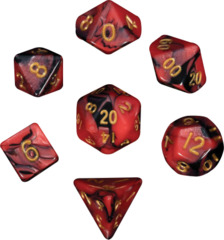 Mini Polyhedral Dice Set - Red/Black w/ Gold Ink