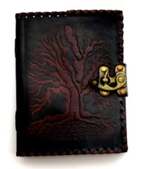 Black/Brown Tree of Life Leather Journal 2806