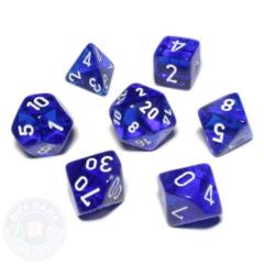 Koplow Mini Polyhedral Dice Set - Transparent Blue/White