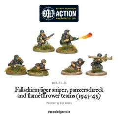 Fallschirmjager Panzerschrek, sniper and flamethrower teams