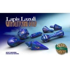 Lapis Lazuli & Glittering Gold Wizards Dice Set