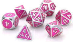 Silver Tourmaline Gemstone Collection Dice Hard