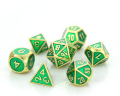 Gold Emerald D&D Dice - Gemstone Collection