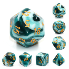 Blue Ink Dizzy HD Polyhedral 7 Dice Set
