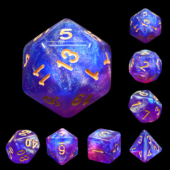 Blue Enchantress Dizzy HD Polyhedral 7 Dice Set