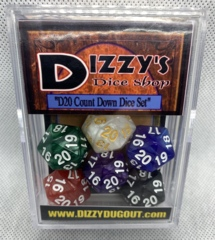 Dizzy HD Dice D20 - Premium Pearl Count Down Dice Set 6 of Spindown Counters & Magic the Gathering Bonus Card