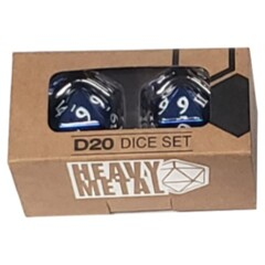 Heavy Metal Dice: D20 Blue w/ White Numbers (2ct)