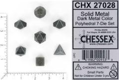 Chessex: 7-Die Set: Solid Metal Dark Metal Color - 27028