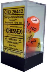 Orange-Yellow/Black Gemini Polyhedral 7-Die Set